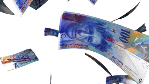 Falling Swiss Francs (Loop on White) Animation