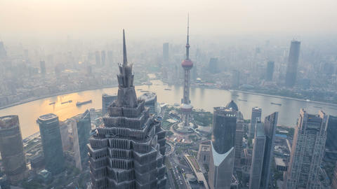 4k Timelapse Aerial View Of Shanghai, China stock footage