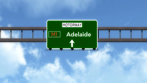 4K Passing Adelaide Australia Highway Road Sign with Matte 2 stylized Animation