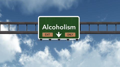 4K Passing Alcoholism Exit Only Highway Sign with Matte 2 stylized Animation
