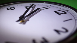 Clock Motion Speed, Eleven O'Clock, Green Background Footage