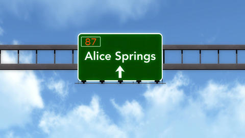 4K Passing Alice Springs Australia Highway Road Sign with Matte 2 stylized Animation