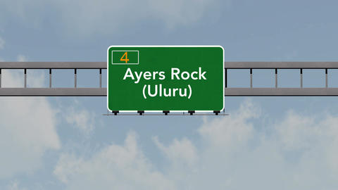 4K Passing Ayers Rock Australia Highway Road Sign with Matte 1 neutral Animation