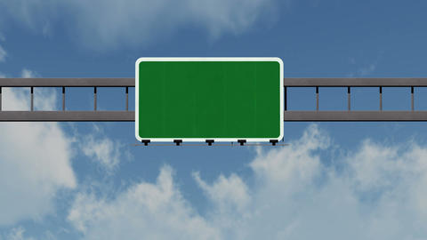 4K Passing Blank Highway Sign with Matte 1 neutral Animation