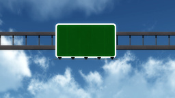 4K Passing Blank Highway Sign with Matte 2 stylized Animation