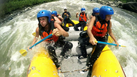 Whitewater rafting immersive shot Footage