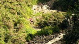 Zip line over Andean valley in Ecuador Footage