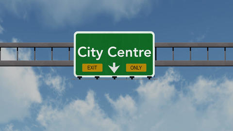 4K Passing City Centre Exit Only Highway Sign with Matte 1 neutral Animation