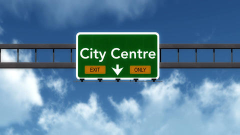 4K Passing City Centre Exit Only Highway Sign with Matte 2 stylized Animation