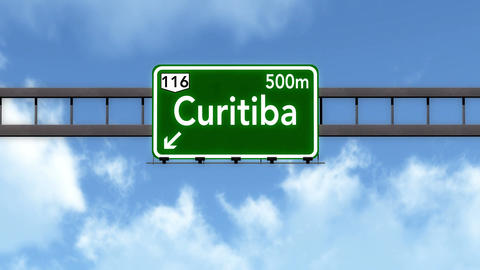 4K Passing Curitiba Brazil Highway Road Sign with Matte 2 stylized Animation
