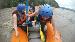 Whitewater rafting shift turn Footage