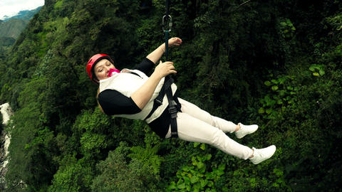 Adult Woman On Zip Line Stock Video Footage