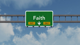 4K Passing Faith Exit Only Highway Sign with Matte 1 neutral Animation