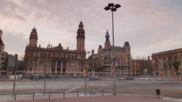 barcelona city urban correos gothic architecture Footage