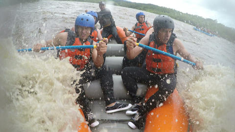 Whitewater rafting team of boys Footage