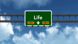 4K Passing Life Exit Only Highway Sign with Matte 2 stylized Animation