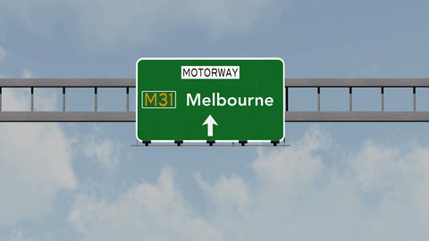 4K Passing Melbourne Australia Highway Road Sign with Matte 1 neutral Animation