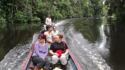 Motorized canoe with tourists in Amazonian primary jungle Footage