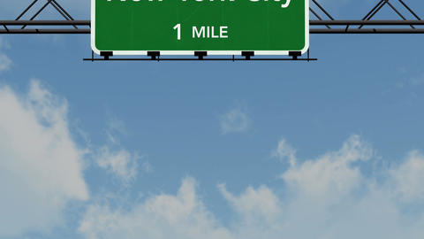 4 K Passing New York City Interstate Highway Sign with Matte 1 neutral Animation