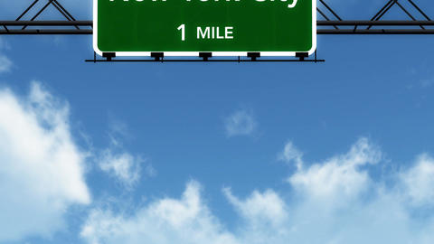 4 K Passing New York City Interstate Highway Sign with Matte 2 stylized Animation