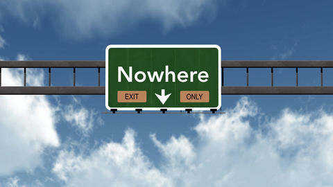 4K Passing Nowhere Exit Only Highway Sign with Matte 2 stylized Animation