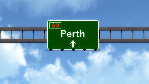 4K Passing Perth Australia Highway Road Sign with Matte 2 stylized Animation