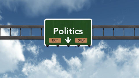 4K Passing Politics Exit Only Highway Sign with Matte 2 stylized Animation