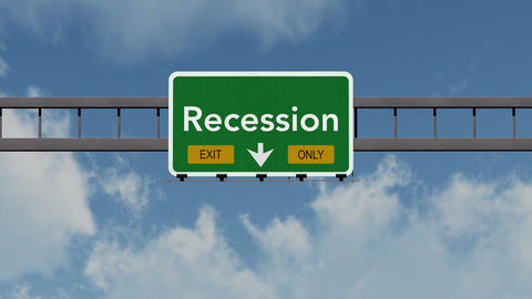 4K Passing Recession Exit Only Highway Sign with Matte 1 neutral Animation