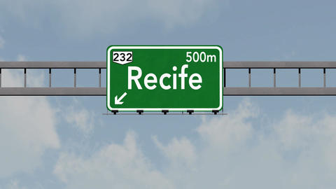 4K Passing Recife Brazil Highway Road Sign with Matte 1 neutral Animation