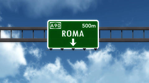 4K Passing Roma Italy Highway Sign With Matte 2 Stylized stock footage