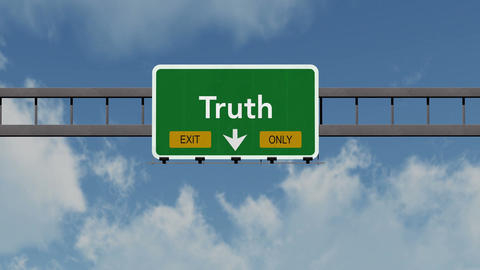 4K Passing Truth Exit Only Highway Sign with Matte 1 neutral Animation
