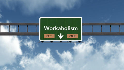 4K Passing Workaholic Exit Only Highway Sign with Matte 2 stylized Animation