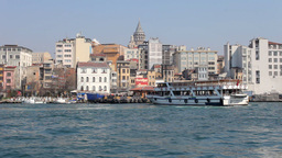 istanbul skyline galata bosphorus boats turkey Footage