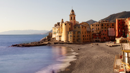Camogli Italy Beach Coast Church stock footage