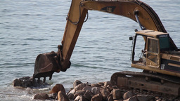 beach construction digger work industry Footage