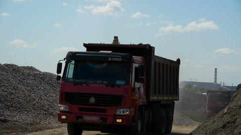 Red truck takes away the sand from the loading Stock Video Footage