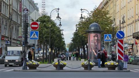 Bolshaya Konyushennaya ulitsa (Big Stables Street) Stock Video Footage