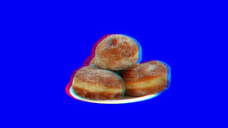 Stereoscopic 3D of rotating seemless looping donuts... Stock Video Footage