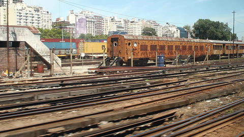 Rusty trains at BA station Stock Video Footage