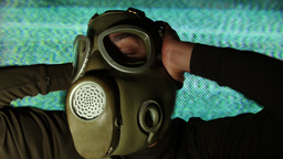person wearing gasmask Footage