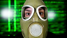 person wearing gasmask Footage