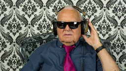 Cool Grandpa With Headphones stock footage