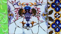 ceramic tiles gaudi parc guell barcelona Footage