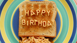 happy birthday toast letters spaghetti Footage