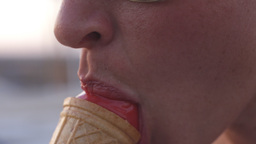 ice cream eating mouth sexy female Footage