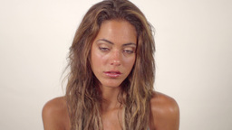 beautiful model face expressive poses and moves Footage