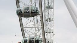 London Eye Closeup Tourist Atraction England stock footage