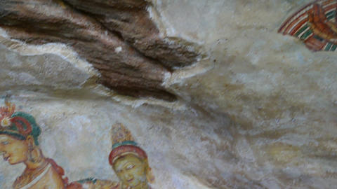 Sigiriya maiden - frescoes at rock fortress Footage
