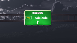 4K Passing Adelaide Australia Highway Sign at Night with Matte 1 neutral Animation