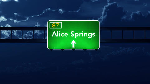 4K Passing Alice Springs Australia Highway Sign at Night with Matte 2 stylized Animation
